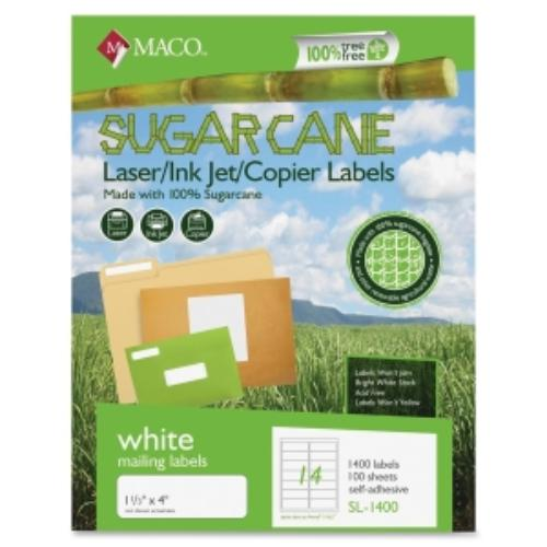 "Maco Printable Sugarcane Mailing Labels - 1.33"" Width X 4"" Length - 1400 / Box - Rectangle - 14/sheet - Inkjet, Laser - Bright White (MSL1400)"