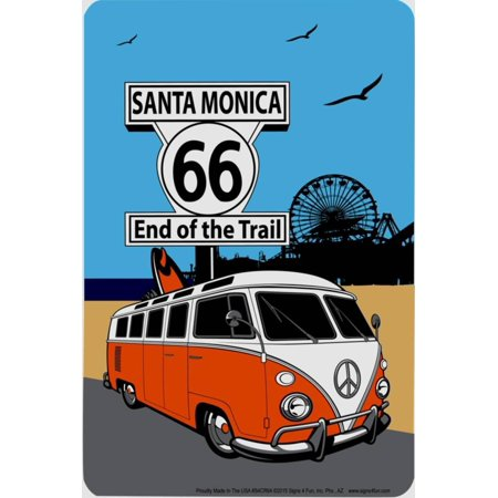 Route 66 Santa Monica Tin Sign - 8x12