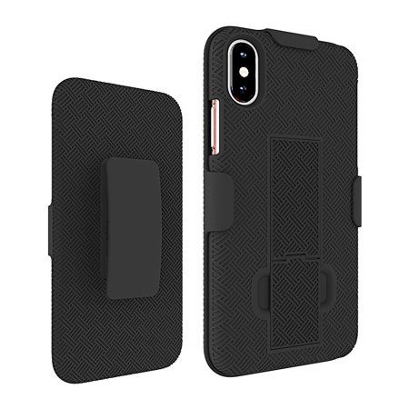 KuKu Mobile Rubberized Shell Case Holster for iPhone X, XS (Black) - image 1 of 1