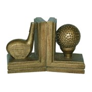 2 Pc Golf Bookend Set in Antique Gold Finish