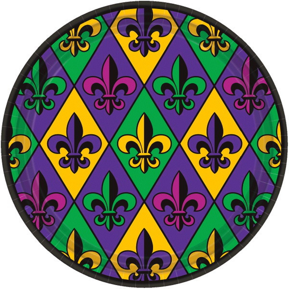 "Fleur De Lis 18 ct Paper 9"" Lunch Plates Value Size Mardi Gras"