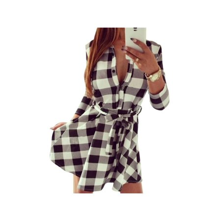 - VICOODA Lady Retro 3/4 Sleeve Plaid Lapel Skirt Belted Casual Knee Length Shirt Dress