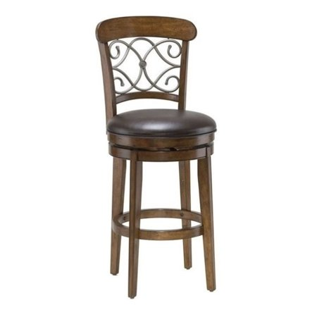 Bowery Hill 30 Quot Swivel Bar Stool In Medium Brown Cherry
