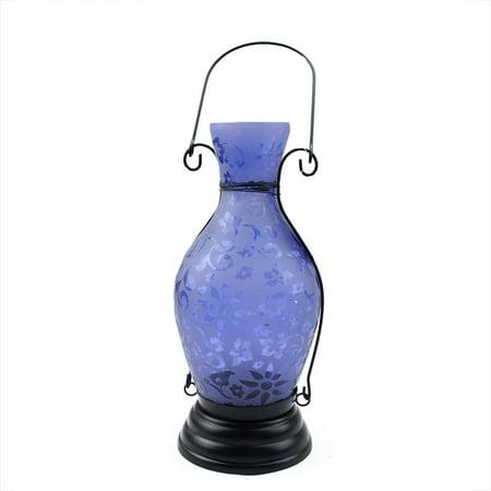 "11.75"" Transparent Blue Decorative Glass Bottle Tea Light Candle Lantern with Flower Etching"