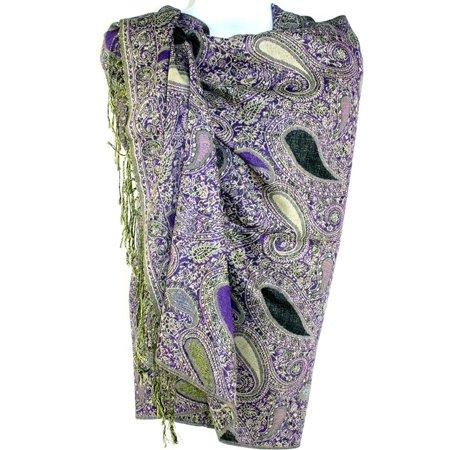 Silver Fever Jacquard Teardrop Twist Rich Double Sided Pashmina Shawl Scarf (Purple Black)