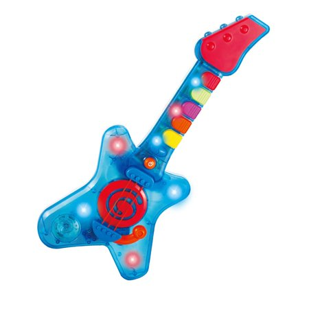 infunbebe Rock n Roll Guitar Little Rock Star Guitar, Electronic Musical Toy Instrument with Lights and Musics for Infant from 2 Years and up (Toys That Light Up And Play Music)