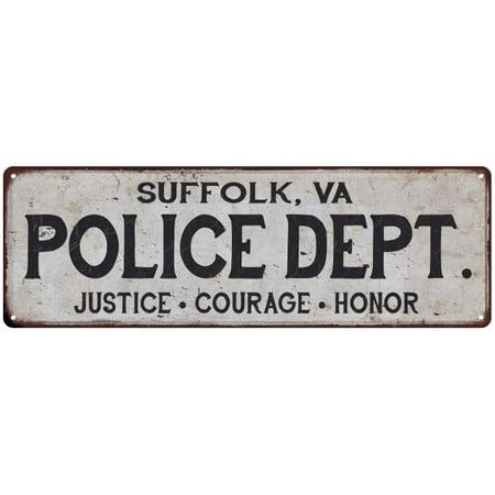Suffolk Metal - SUFFOLK, VA POLICE DEPT. Home Decor Metal Sign Gift 8x24 108240012352