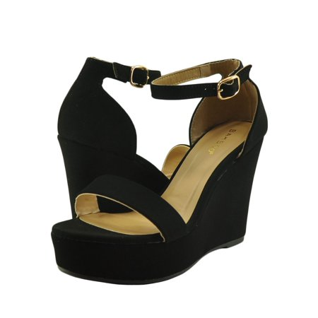 194400de1de Women s Shoes Bamboo Scorpio 21S Single Strap Platform Wedge