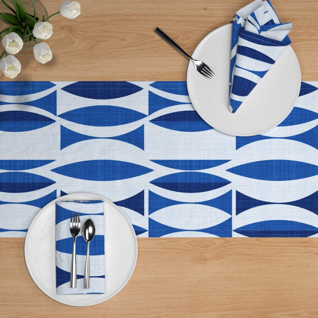 Navy Grasscloth Print by jenlats Abstract Table Runner Minimalist  Blue White Traditional Navy Cotton Sateen Table Runner by Spoonflower