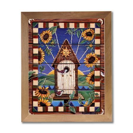 Folk Art Birdhouses - Country Birdhouse Flower Folk Wall Picture Honey Framed Art Print