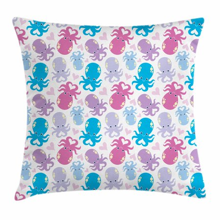 Octopus Throw Pillow Cushion Cover, Cute Cartoon Marine Animals with Various Colors Heart Shapes Love Themed Image, Decorative Square Accent Pillow Case, 20 X 20 Inches, Lilac Pink Blue, by Ambesonne](Cute Cartoon Themes)
