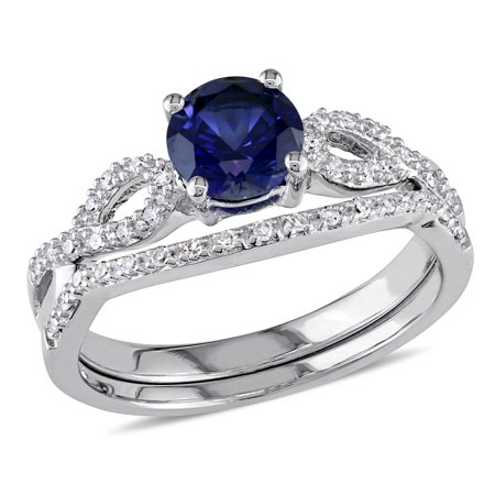 Created Blue Sapphire 1.0 Carat (ctw) Engagement Ring and Bridal Wedding Set with Diamond, 10K White Gold Blue Sapphire Bridal Set Ring