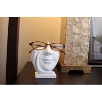 Face Eyeglass Stand Holder Life is Good White Organizer