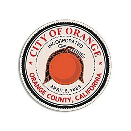 ROUND City of Orange California Sticker Decal (ca decal) Size: 4 x 4 inch (California Orange City)