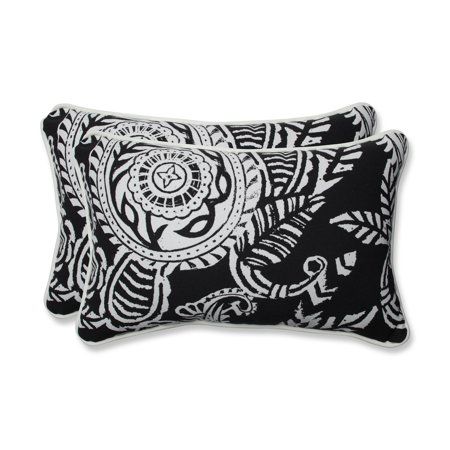 Set of 2 White Paisley Swirl and Black Outdoor Corded Rectangular Throw Pillows 18.5
