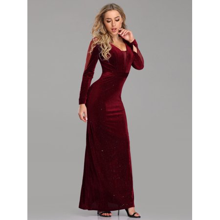 1663a92e41 Ever-Pretty - Ever-Pretty Womens Sexy Deep V-Neck Velvet Black Tie Evening  Ball Gown for Women 07394 Burgundy US8 - Walmart.com