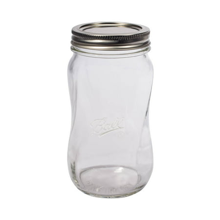 Ball Collection Elite Spiral Regular Mouth 16-Oz. Glass Mason Jars, 4-Count