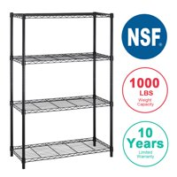 4Shelf Wire Shelving Unit Garage NSF Wire Shelf Metal Storage Shelves Heavy Duty Height Adjustable for 1000 LBS Capacity Chrome