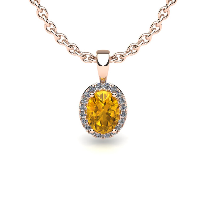 3 4 Carat Oval Shape Citrine and Halo Diamond Necklace In 14 Karat Rose Gold With 18 Inch Chain by SuperJeweler