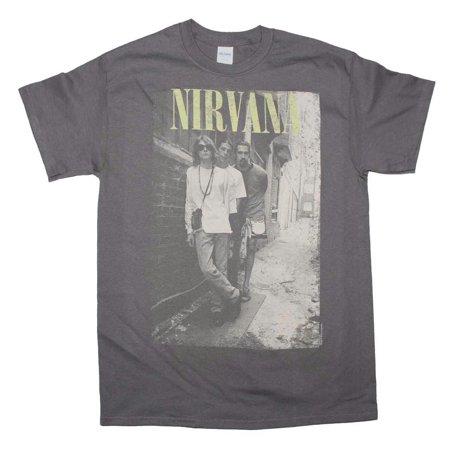c7fbb070 Live Nation Merchandise - Nirvana Brick Wall Alley Photo T-Shirt - Charcoal  - Small - Walmart.com