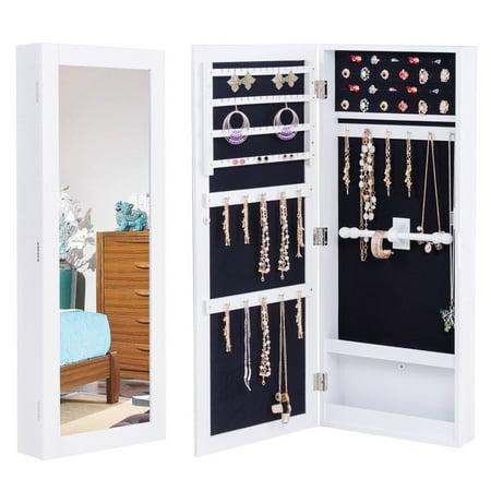 GYMAX Armoire à Bijoux Mural Armoire Bijoux de Ranchement avec Miroir MDF  35,2 x 9,2 x 88,2 cm Blanche | Walmart Canada