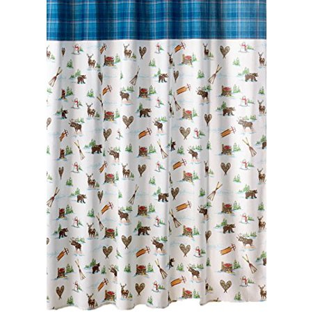 Snowman Toile Fabric Shower Curtain Winter Cabin And Wildlife