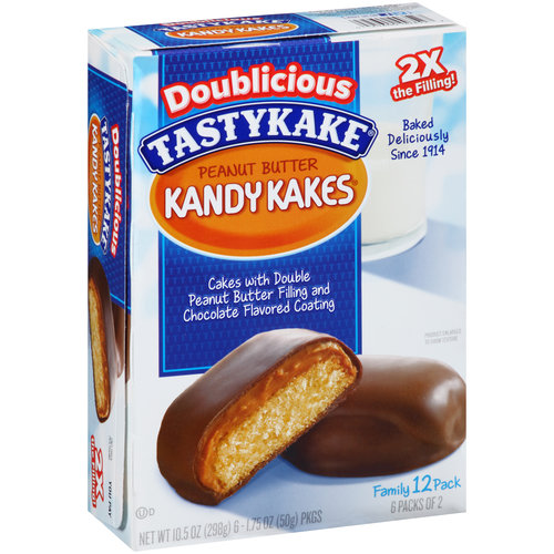 Tastykake Doublicious Twice Filled Peanut Butter Kandy Kakes Cakes, 12 ct