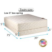 """Dream Sleep Grandeur Deluxe Twin Mattress and Low 5"""" Height Box Spring Set with Bed Frame Included - Good for your back, Luxury Height, Longlasting Comfort and 2 Sided"""