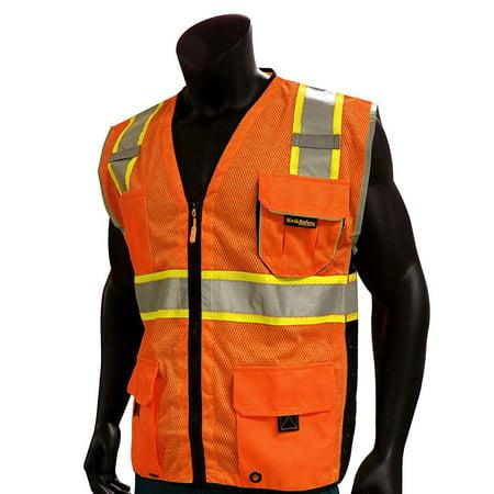KwikSafety CLASSIC Hi Vis Reflective ANSI PPE Surveyor Class 2 Safety Vest Size: S/M, Color: Orange