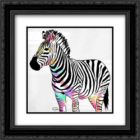 Zebra Head Colorful 2x Matted 20x20 Black Ornate Framed Art Print by ...