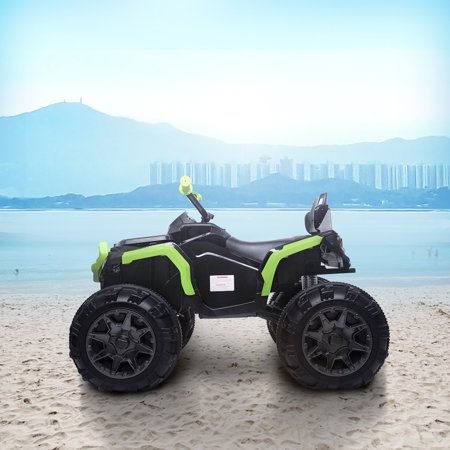 Kids Electric Ride ON Toys, Quad Ride ON Toys 12 Volt Jeep, 4-Wheeler ATV Ride ON Car w/ 3.7mph Max, 2 Speed, LED Lights, AUX Jack, Radio, Powered Motorcycle for Boys, 3-8 Years Old, Green,