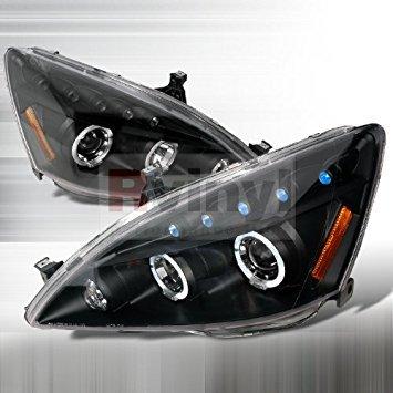 - Honda Accord 2003 2004 2005 2006 2007 LED Halo Projector Headlights - Black Smoke