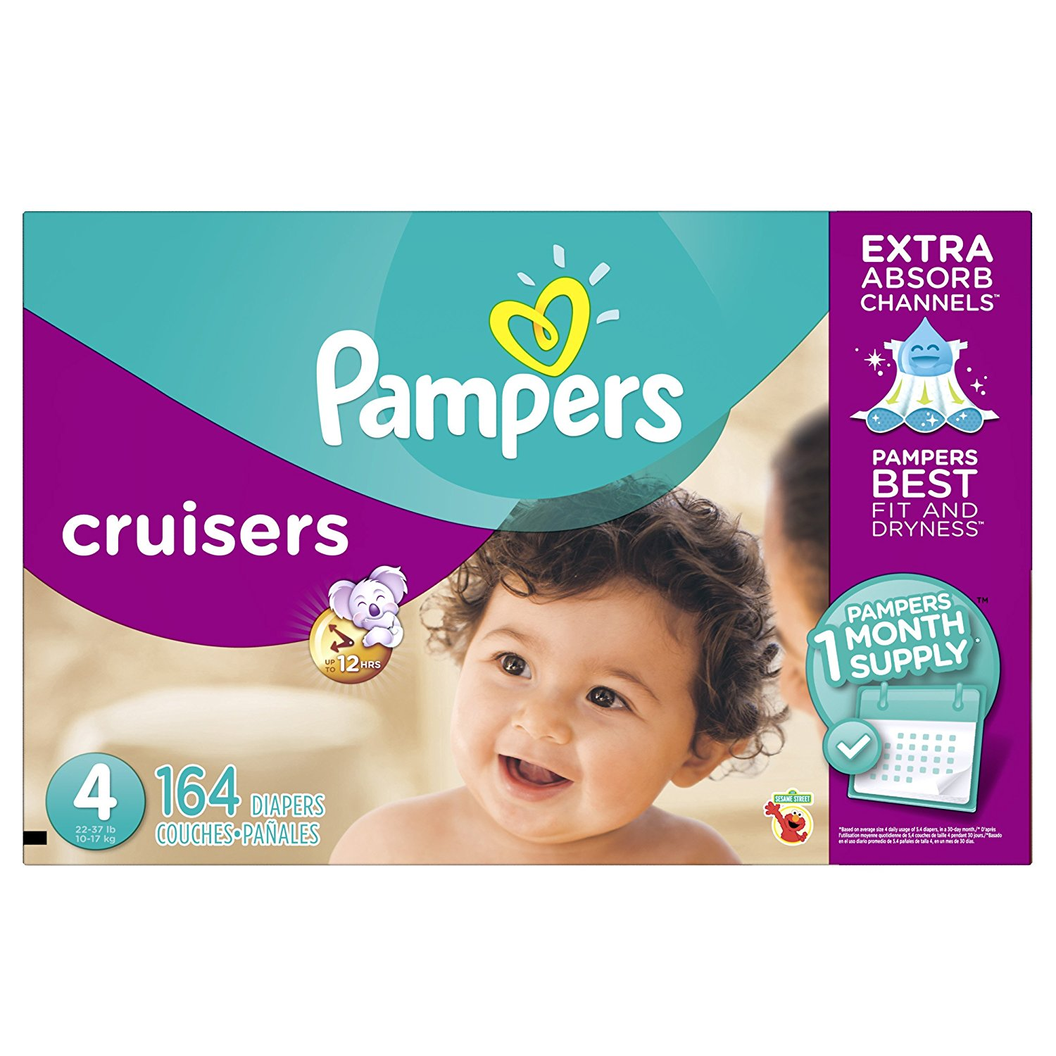 Pampers Cruisers Disposable Diapers Size 4, 164 Count, ECONOMY PACK PLUS by Discount Market Place