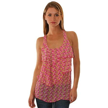 Pink Sheer Layered Polka Dot Print Sleeveless Top