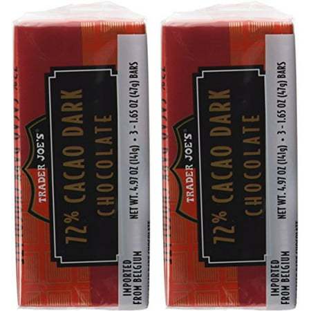 Trader Joe's 72% Cacao Belgian Dark Chocolate Bars (2 Packs of 3)