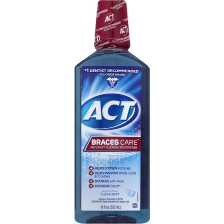 (2 pack) ACT Braces Care Anticavity Fluoride Mouthwash, 18 Fl