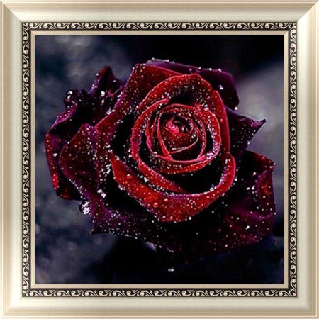 Core Red Stitch - KABOER DIY 5D Rose Diamond Painting Red Flowers Rhinestone Embroidery Cross Stitch Canvas Romantic Wall Decor