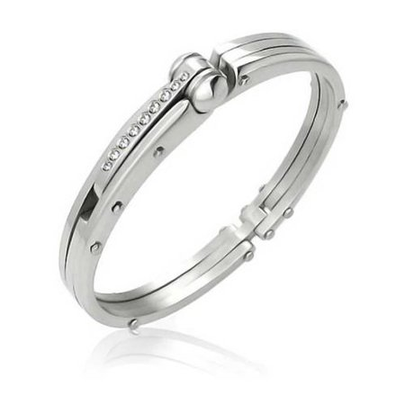 (Bling Jewelry Stainless Steel CZ Handcuff Bangle Secret Shades Bracelet)