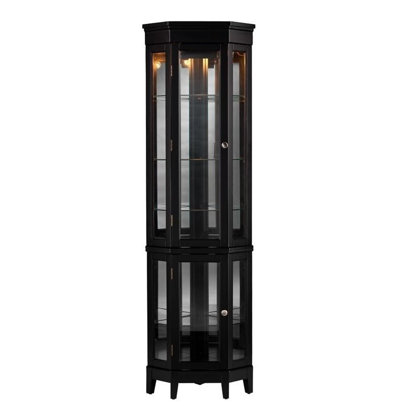 Merveilleux Bowery Hill Corner Curio In Black