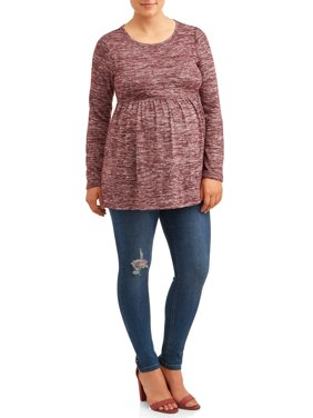 Time and Tru Maternity Knit Top Long Sleeve Peplum
