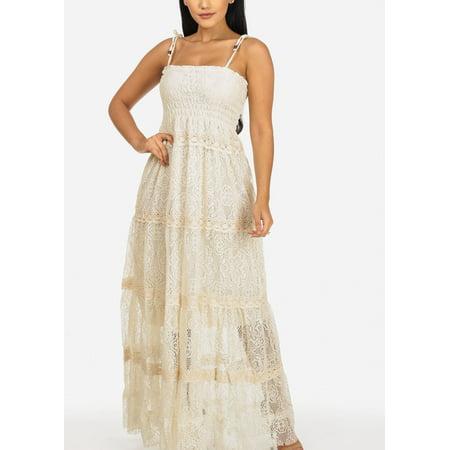 eb99a0a13 Womens Juniors Beige Spaghetti Strap Crochet Details Partially Lined Maxi  Dress 11025I
