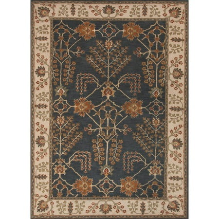 3.5' x 5.5'  Orange and Blue Chambery Classic Arts And Crafts Style Hand-Tufted Wool Area Throw Rug
