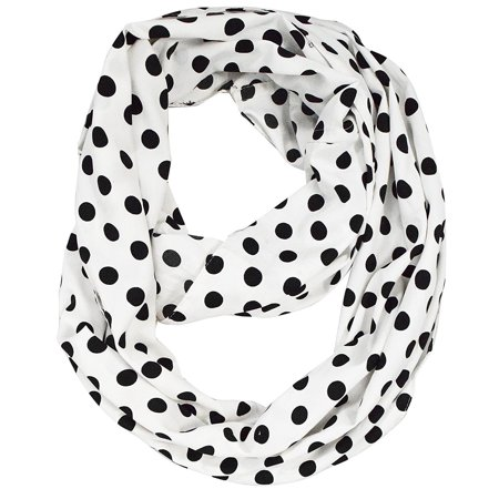 Peach Couture  White Polka Dot Infinity Scarf  - Medium