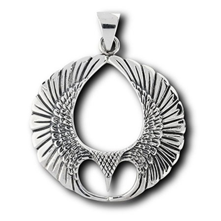 """Sterling Silver 16"""" .8mm Box Chain Eagle Hawk Or Other Bird Of Prey Pendant Necklace"""