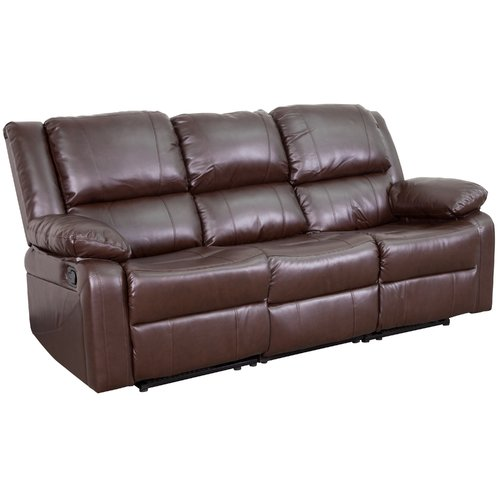 Flash Furniture Harmony Series Brown Leather Sofa With Two Built In  Recliners Image 1 Of