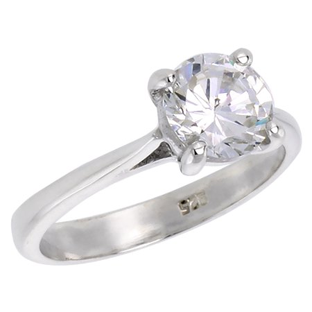 Sterling Silver Cubic Zirconia Solitaire Engagement Ring Brilliant Cut 1 1 4 Ct  Sizes 6   10