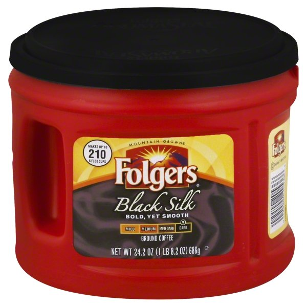 Folgers Black Silk Ground Coffee, Dark Roast, 24.2-Ounce