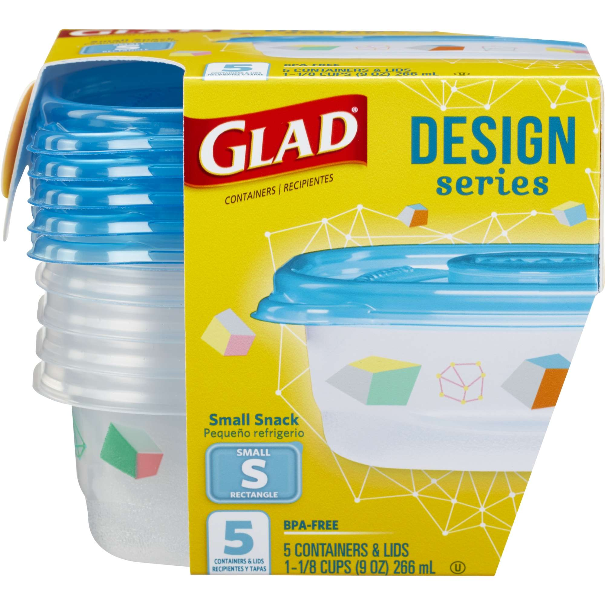 Glad Food Storage Containers, Designer Series, Small Rectangle, 9 oz, 5 ct