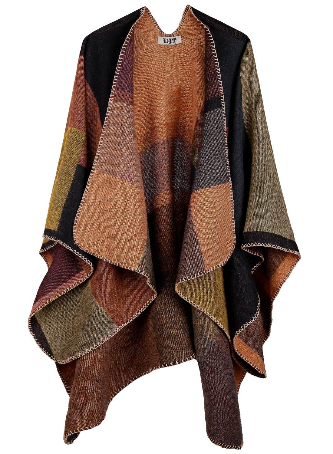 DJT Women's Plaid Pattern Wrap Shawl Poncho Cape One Size Khaki by DJT