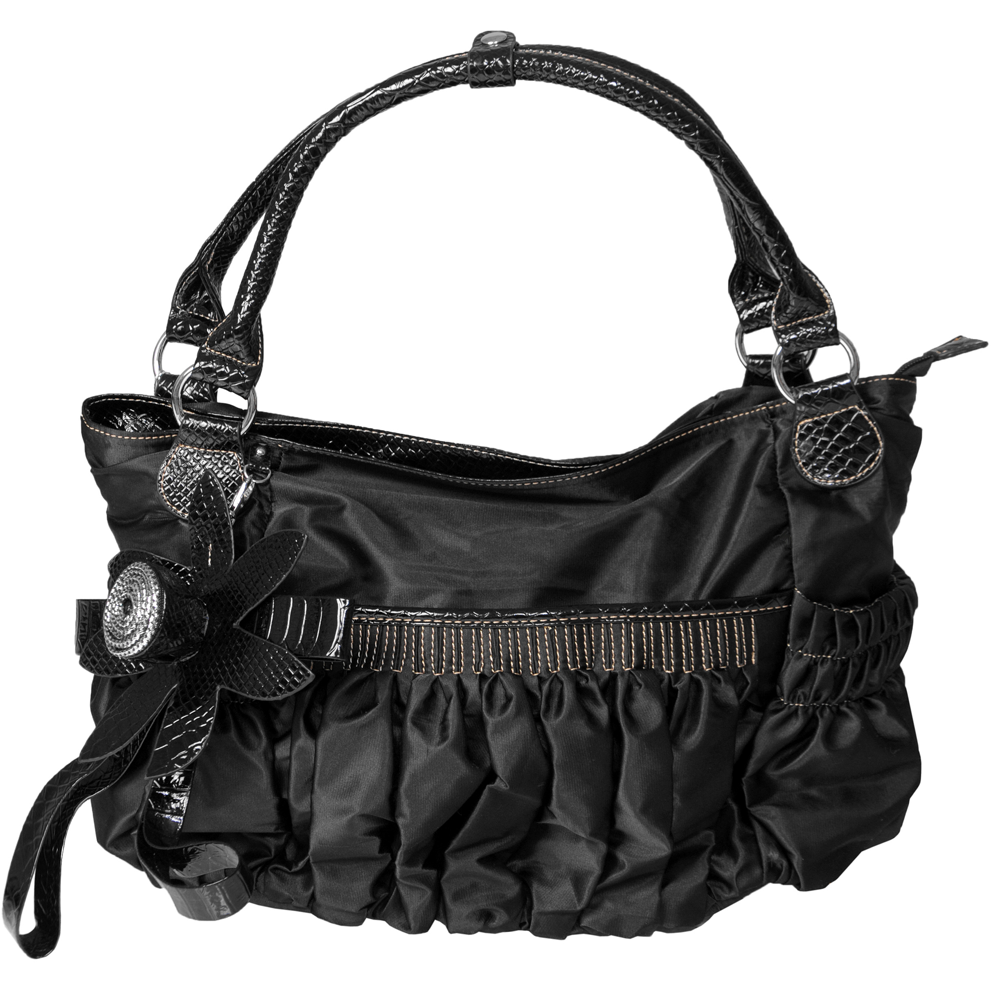 Brinley Co Women's Slouchy Ruched Double Handle Satchel Bag